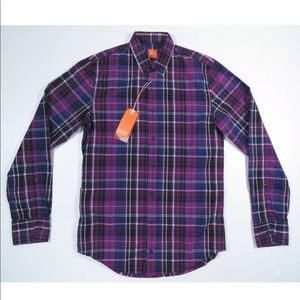 Hugo Boss Orange Label Slim Fit Purple Plaid Shirt
